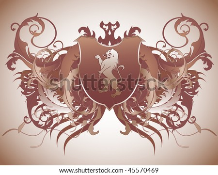 A medieval ornate heraldic shield with a lion - stock vector