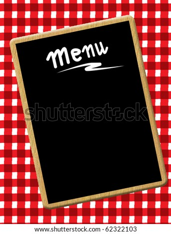 A menu card chalkboard on tablecloth background. Space for text. - stock vector
