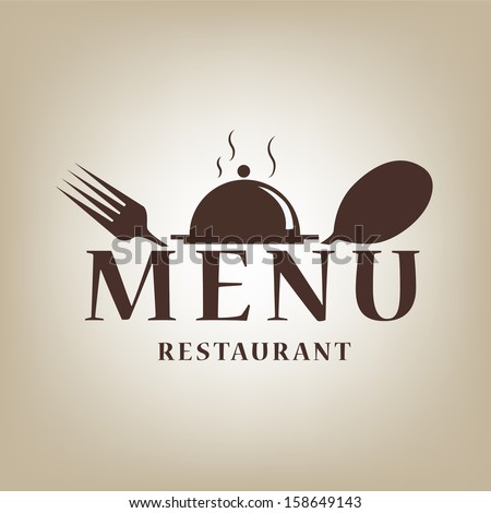a menu design with a dish, fork, spoon and some text