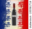 A menu template with a wine bottle over a grunged french flag - stock vector