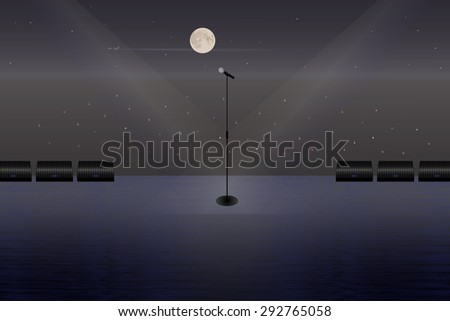 A microphone on a stage in the open air. Vector illustration for your design, banners, posters, flyers, web sites etc.  - stock vector