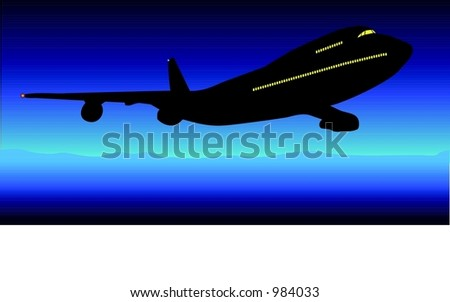 A midnight flight - vector illustration - stock vector