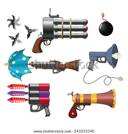 A military weapon set for a computer game  - stock vector