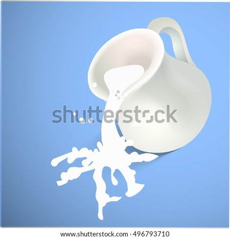 A milk jug with milk spalshes on blue background. Vector illustration