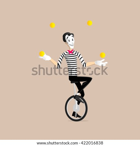 A Mime performing a pantomime - the juggler on the mono cycle - stock vector