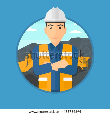 A miner standing in front of a big excavator. Miner with crossed arms. Miner wearing hard hat at coal mine. Vector flat design illustration in the circle isolated on background.