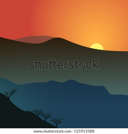 a minimalistic vector landscape with a sunset and mountains
