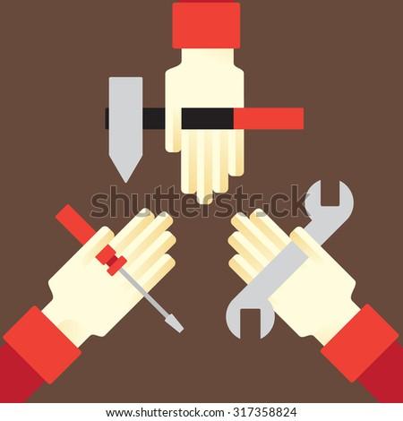 a minimum set of tools for repair - stock vector