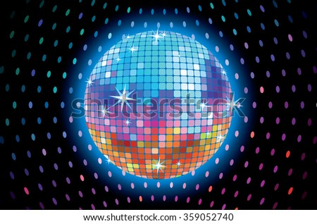 A mirror ball on a colorful background. - stock vector