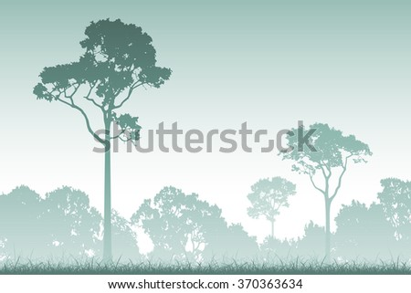 A Misty Forest Landscape with Trees in Silhouette - stock vector