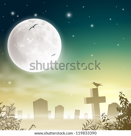 A Misty Graveyard, Cemetery with Tombstones and Moon - stock vector
