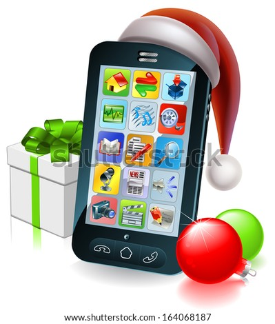 A mobile cell phone with a Santa hat and Christmas baubles and gift with ribbon bow