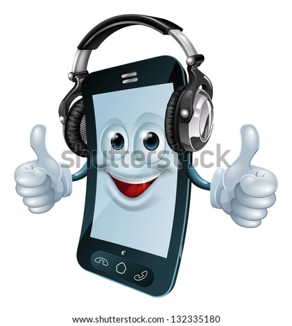 A mobile phone cartoon man with dj headphones on giving the thumbs up. Concept for a music phone app or similar. - stock vector
