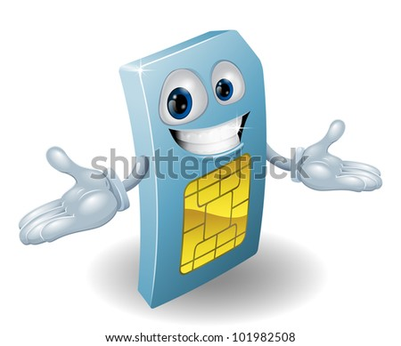 A mobile phone subscriber identity module card mascot - stock vector