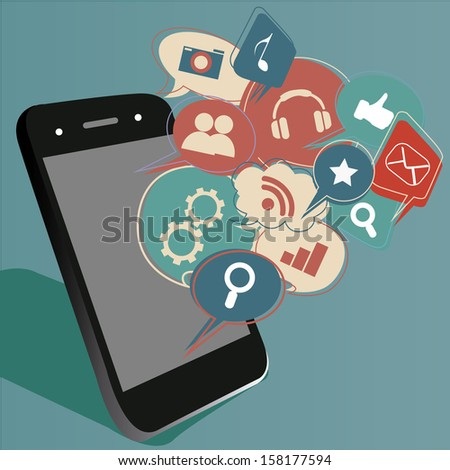 a mobile phone with a lot of bubbles coming out from it - stock vector