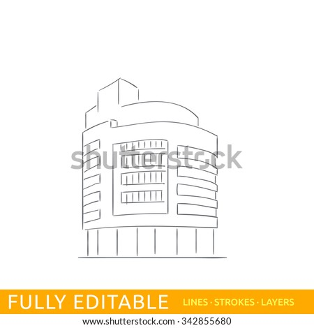 A modern commerce building in the Hague Holland. Sketch line flat design of commerce architecture. Modern vector illustration concept. Fully editable outlines, saved brushes and layers. - stock vector