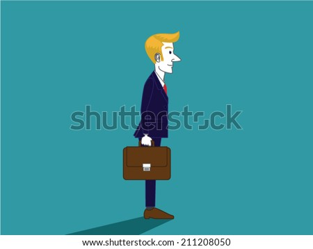 A modern illustration about Europe Businessman stand side view in blue suit. he have gold hair and carry brown handbag - stock vector