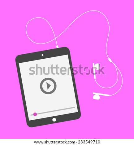 A modern tablet playing a piece of media - stock vector