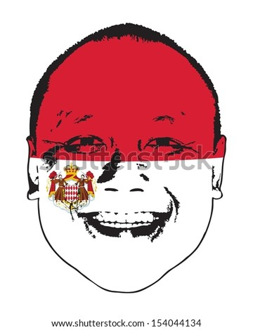 A Monaco flag and coat of arms on a face, isolated against white.  - stock vector