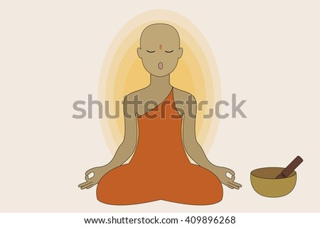 A Monk Doing Yoga and Meditation - stock vector