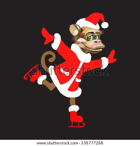 a monkey in a suit of Santa Claus skating isolated new year vector - stock vector