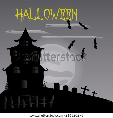 a monochrome halloween background with a haunted mansion, a graveyard and bats