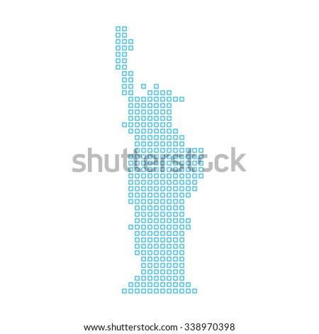 A Mosaic Icon Isolated on a White Background - Statue of Liberty