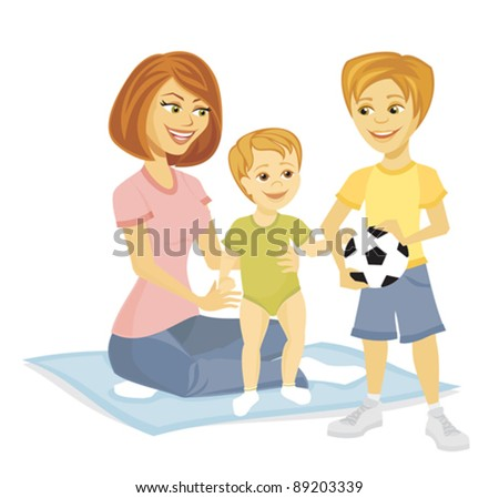 A mother with her baby and son with a soccer ball. - stock vector
