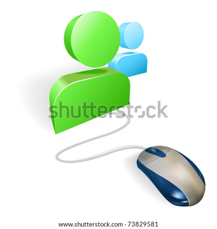 A mouse connected to a social media icon. Concept for online social networking. - stock vector