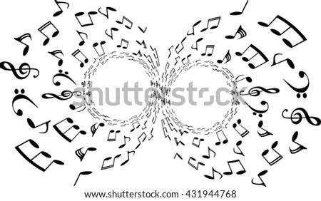 a music notes, bass and treble clef, black and white, on a white background, vector