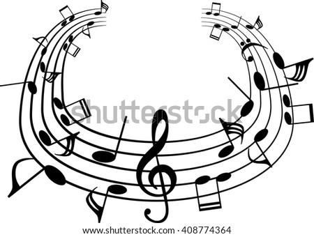 a music notes, black and white, vector