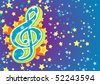A musical background with a treble clef and stars. Vector illustration for use as a filer or poster. - stock vector