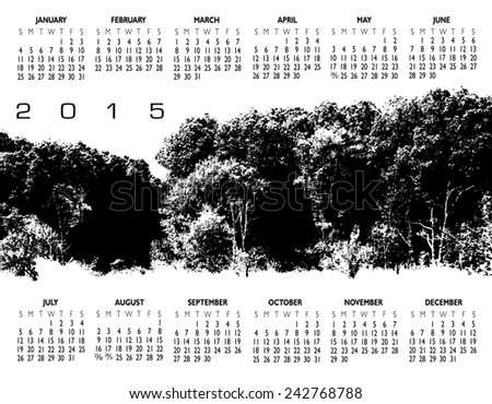 A 2015 Nature Woods and Tree Calendar for Print or Web - stock vector