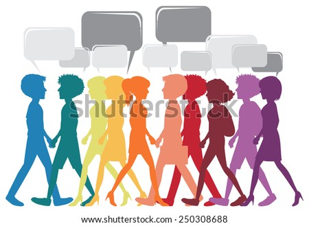 A network of different people on a white background - stock vector