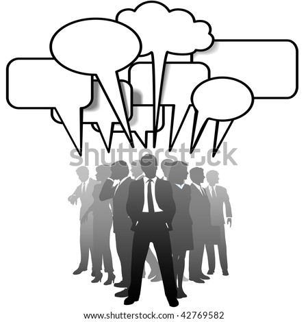 A networked team of business people silhouettes talk in communication speech bubbles. - stock vector