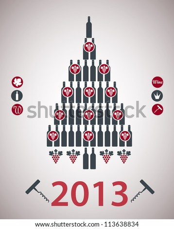 A new-year tree is done from bottles - stock vector