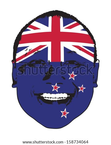A New Zealand flag on a face, isolated against white.  - stock vector