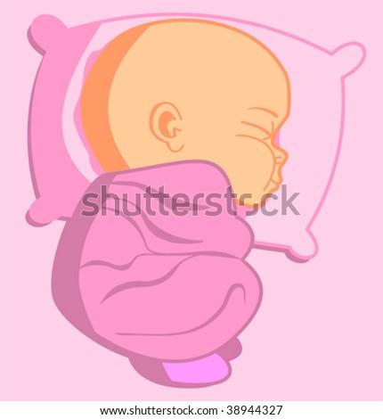 A newborn baby sleeping comfortably - stock vector