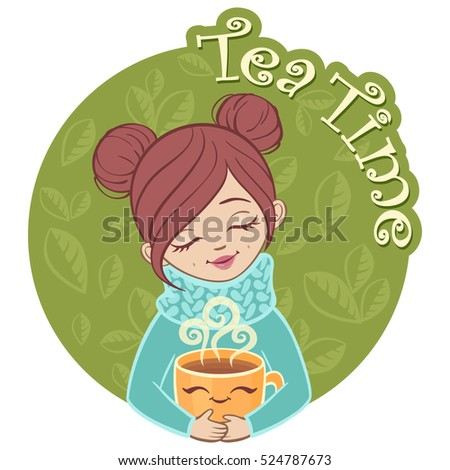 A nice girl holding a hot cup of tea. Day tea