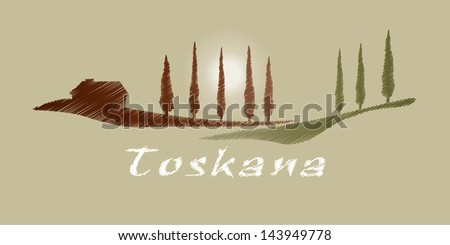 A nice Tuscany graphic with some trees and a house - stock vector
