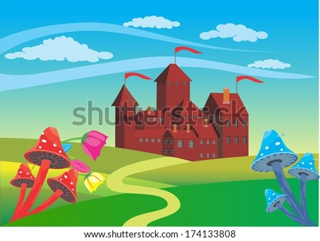 A nice vew to old castle - stock vector