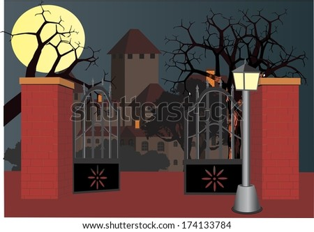 A night in old house - stock vector