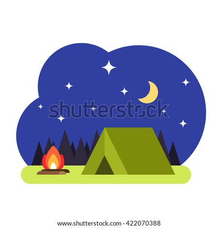 A night landscape with tent, campfire and with a blue sky and stars on background. Flat vector illustration isolated on white background - stock vector