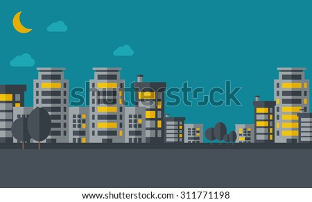 A night scenery of building city with moon. Vector flat design illustration. Horizontal layout. - stock vector