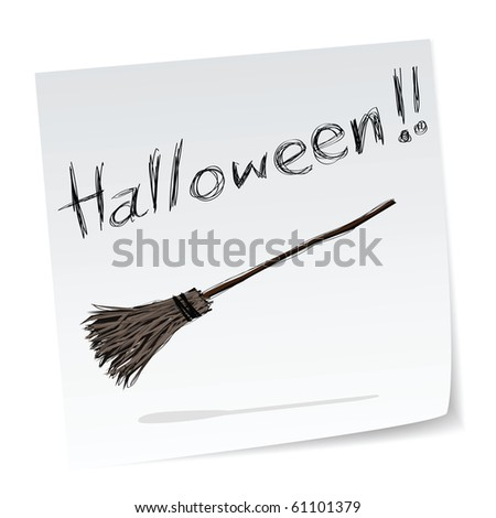a note with hand-drawn halloween theme message - 7 of series. - stock vector