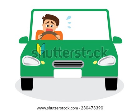 A novice male driver scared of driving, vector illustration  - stock vector