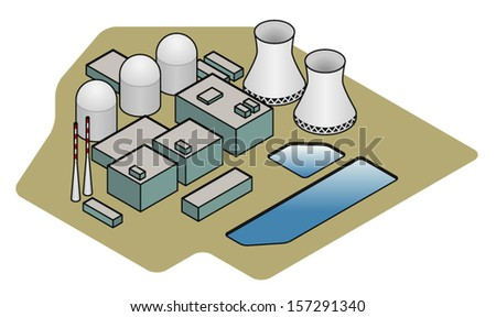 A nuclear power plant showing cooling ponds, reactor domes, support buildings, generator building and cooling towers. - stock vector