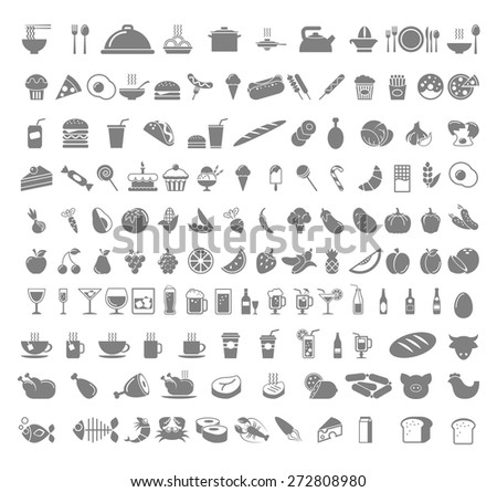 A number of food and beverages - fruits, coffee, tea, meat, bread, wine, cupcakes, burger icon set. Vector flat design illustration Square layout.  - stock vector