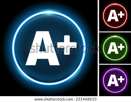A+ on Glow Round Button