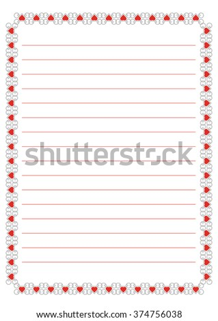 A page of notepad. Frame with heart pattern for Valentine's Day
